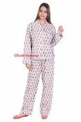 Ladies Night Wear Hand Block Printed Pajama Suit