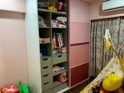 Modular Wooden And Back Painted Glass Wardrobe, Features: 10 Years, Model Name/Number: 012