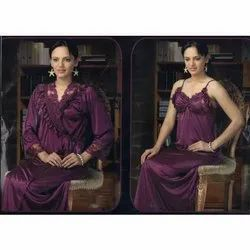 Ladies Dark Purple Satin Nighty