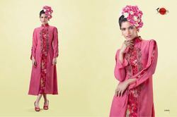 Silk Embroidered Pink Full Sleeve Mayra Kurti, Size: L