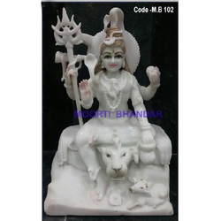 Shankar White Makrana Marble Statue