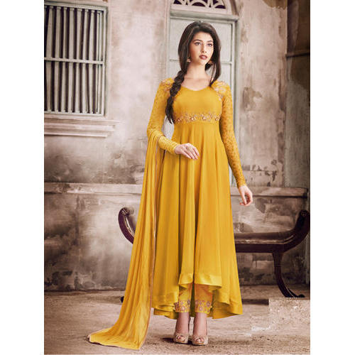 e60ccfec3dd Full Sleeves Semi-Stitched Yellow Salwar Suit