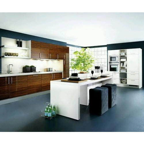 Pvc And Wooden U Shape Modular Island Kitchen With Small Dining Table Rs 1500 Square Feet Id 20388816112