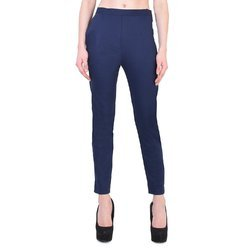 Ladies Cotton Lycra Blue Pant, Size: S-XXL