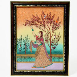 Lady Plucking Flowers Pure Gemstone Painting