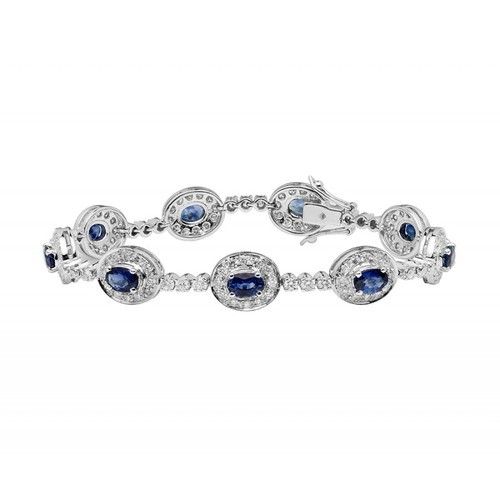 Blue Sapphire And Diamond Bracelet Made In 14k White Gold 4 95 Cts