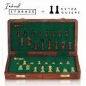 10 Folding Wooden Magnetic Chess Set Lacquered Glossy Extra Queens