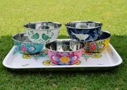 Stainless Steel Hand Painted Bowls, For Home, Size: Assorted