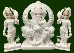 Ganesh Ridhi Sidhi Marble Murti