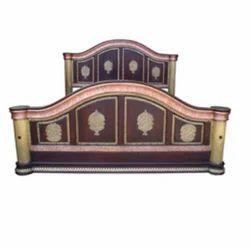 Brown Brass Fitted Round Design Bed