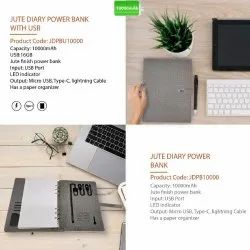 Jute Diary Power Bank with USB