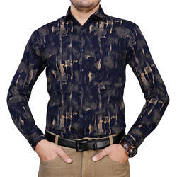 S-XXL Cotton Mens Printed Party Wear Shirt
