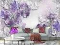 999store Printed 3d Violet Flowers And White Butterflies Wallpaper