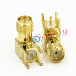 SMA Connector Female R/a PCB Mount Gold Plated