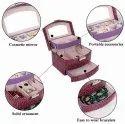 Women Makeup Carrying Case Casket Jewelry Leather Organizer Storage Display Packaging Rack Box Weddi