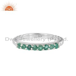 Natural Emerald Gemstone Set Fine Silver Engagement Band Ring