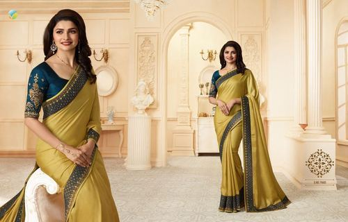 Dark Golden Sparkle Silk Casual Saree