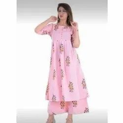 Printed Anarkali Kurti And Palazzo Set