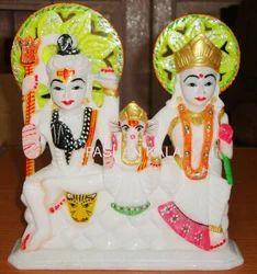 White Marble Shankar Parvati Statue