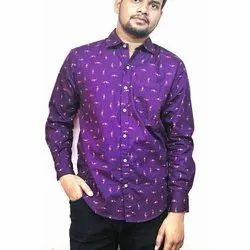 Regular Fit Mens Stylish Printed Cotton Shirt, Size: M-XXL