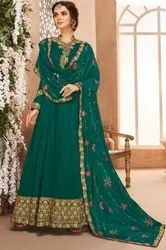 Rama Green Heavy Anarkali With Georgette Dupatta