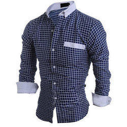 Cotton Checked Mens Casual Shirt