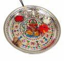Silver Ganesha Designed S.S. Meenakari Decorative Puja Thali