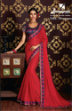 Laxmipati Diamonds With Fancy Lace Dark Pink Chiffon Saree