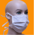 White Non-woven 3 Ply Disposable Face Mask With Tie