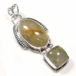 Rutilated Quartz Sterling Silver Stone Pendant