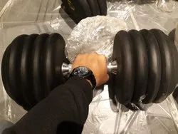 Black Rubber Round Dumbbell, Weight: 5-60 kgs