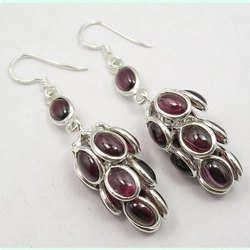Garnet 925 Sterling Silver High Fashion Earrings