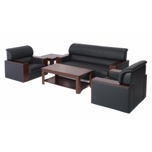 Black Leather 5 Seater Office Sofa Set
