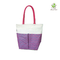 Jute Bag With Two Colored Pocket And Colored Webbed Handle