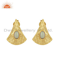 Supplier Design Texture 18k Gold Plated Silver Gemstone Earrings Jewelry