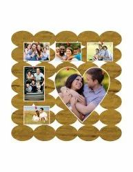 Wood Designer Oval Photo Collage Pinboard, Size: 12x12 Inch