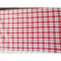 Red And White Cotton Check Mattress Fabric, Use: Mattress Ticking