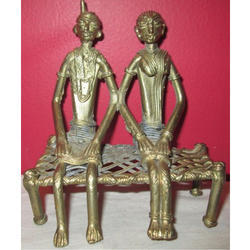 Brass Dokra Couple Statue