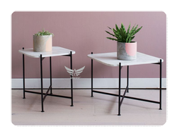 Aprodz Stainless Steel Side Table, for Home, Size: L53 X D53 X H41 Cm