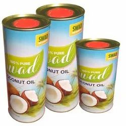 Round Coconut Oil Tin Can / Edible Oil Can for Packaging, Size: 1 Ltr and 500 mL