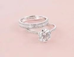 DEF Round Cut Moissanite Ring With Band
