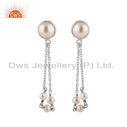 Pearl Gemstone Designer 925 Fine Silver Chain Earrings