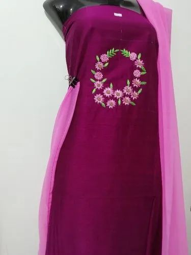 Grape Embroidered Hand embroidery churidar materials, For Dress