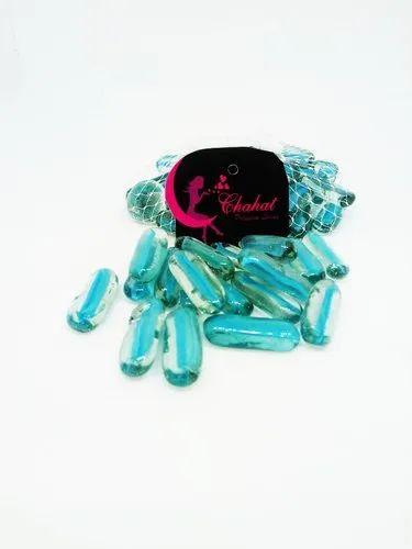 Chahat Premium Living Capsule Sky Blue Color Glass Pebbles Glossy