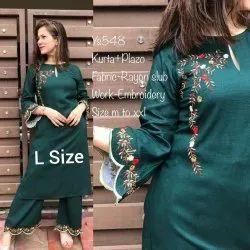 Embroidered Cotton Palazzo Dress, Size: l & Xl