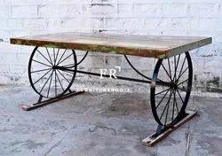 Indian Handicraft Furniture - Vintage Metal Legs Wood Restaurant Table