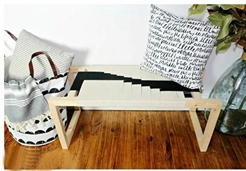 Super Doxey Solid Wood Fabric Bench Daybed Black And White Machost Co Dining Chair Design Ideas Machostcouk