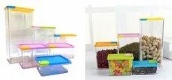Plastic Plain Storage Container Set, Square