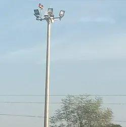 12 M Mild Steel High Mast Lighting Pole, For Highway