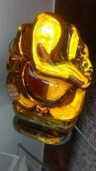Orange Glass Ganesh Idol